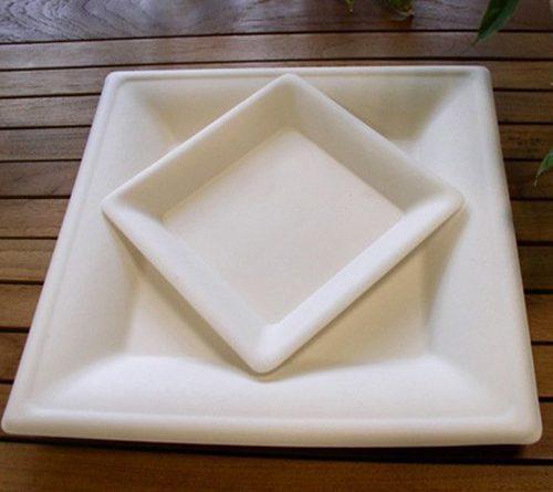 Assiettes carrées biodégradable Quadria